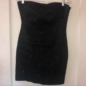 BLACK SLEEVELESS FOREVER 21 SEQUIN DRESS {A131}